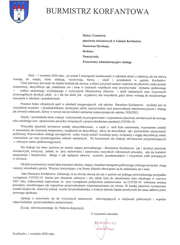 Pismo Burmistrza - rozpoczęcie roku szkolnego.jpeg