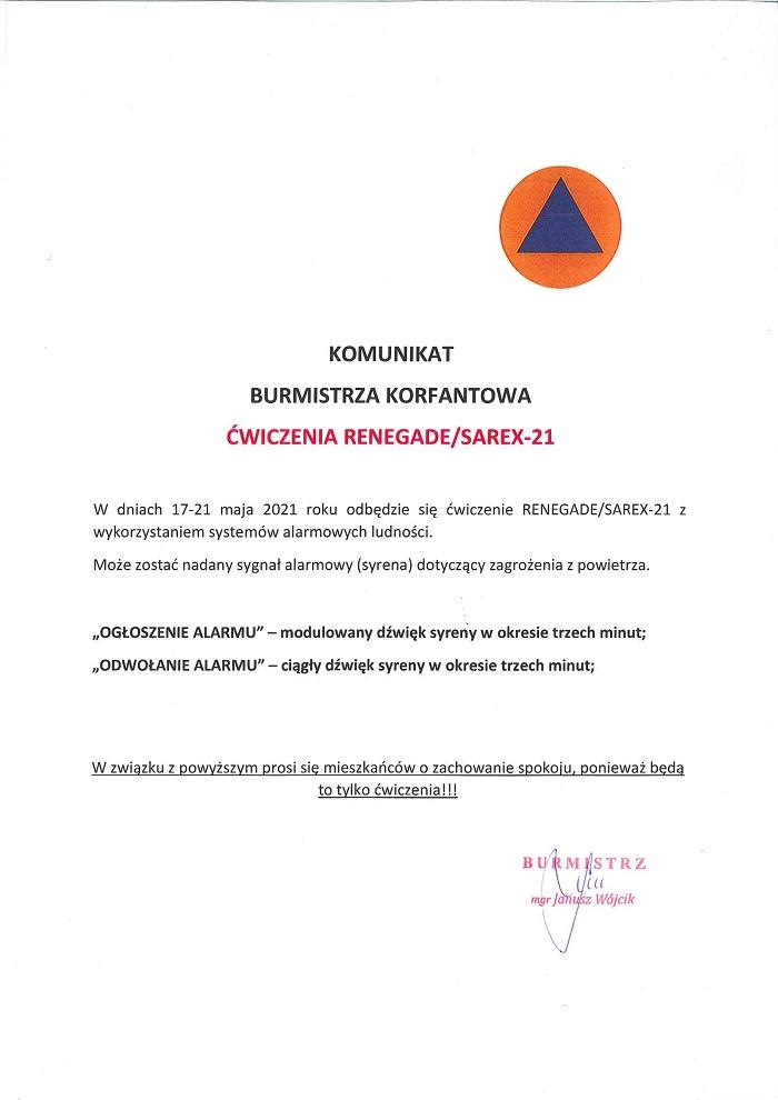 Komunikat o ćwiczeniach RENEGADE/SAREX-21 i włączeniu syren alarmowych  17-21 maja 2021 roku.
